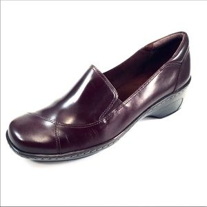 Clarks Womans 71897 Brown Leather Loafers 9.5M